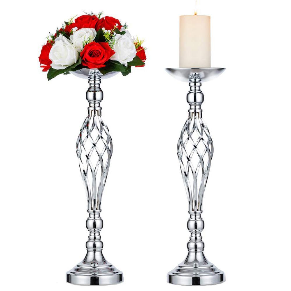 54CM Iron Candle Holder Candlestick Gold Candle Holders Flower Vase Table Centerpiece Event Flower Rack Wedding Decoration
