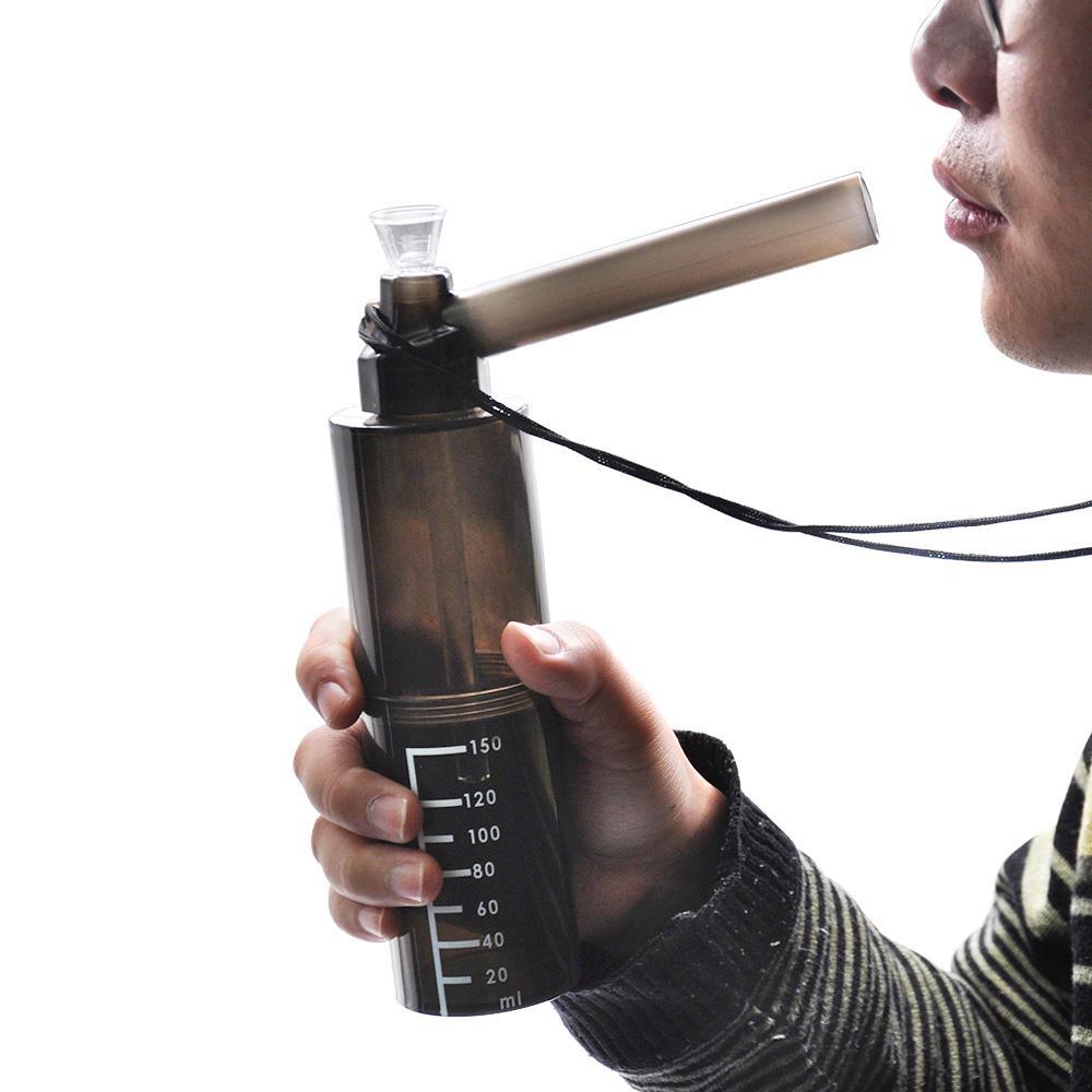 2018 Cuelgue Cuerda Correa Plástico Duro Tubo de Agua para Fumar Con Tabaco Herb Grinder 220 MM Hookah Shisha Acrílico Plástico Tabaco Tubos de Agua Bong