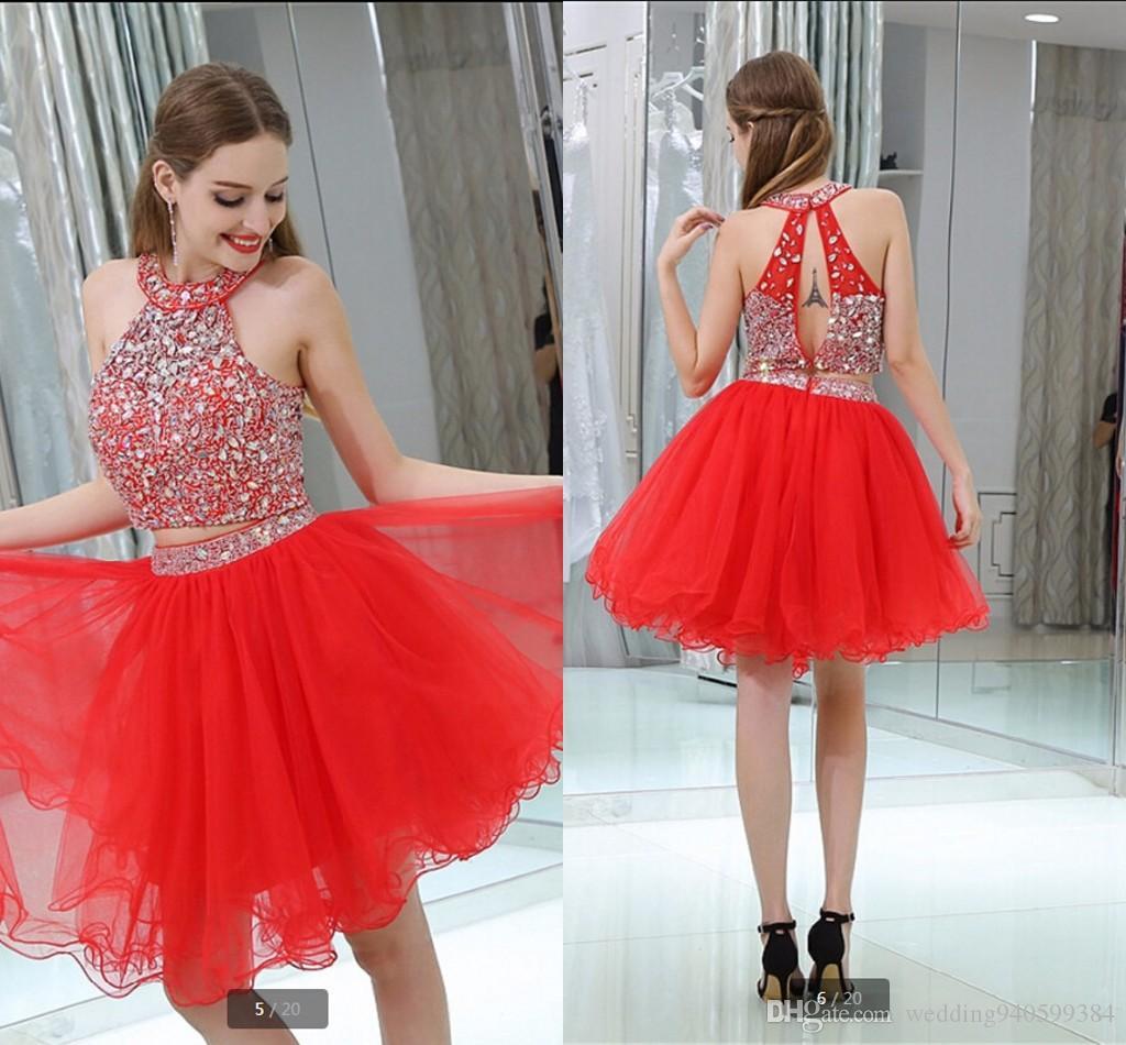 2019 nouvelle arrivée rouge deux pièces une ligne fortement perles cristaux robe de bal creux dos sexy petites filles robes de bal informelles meilleure vente