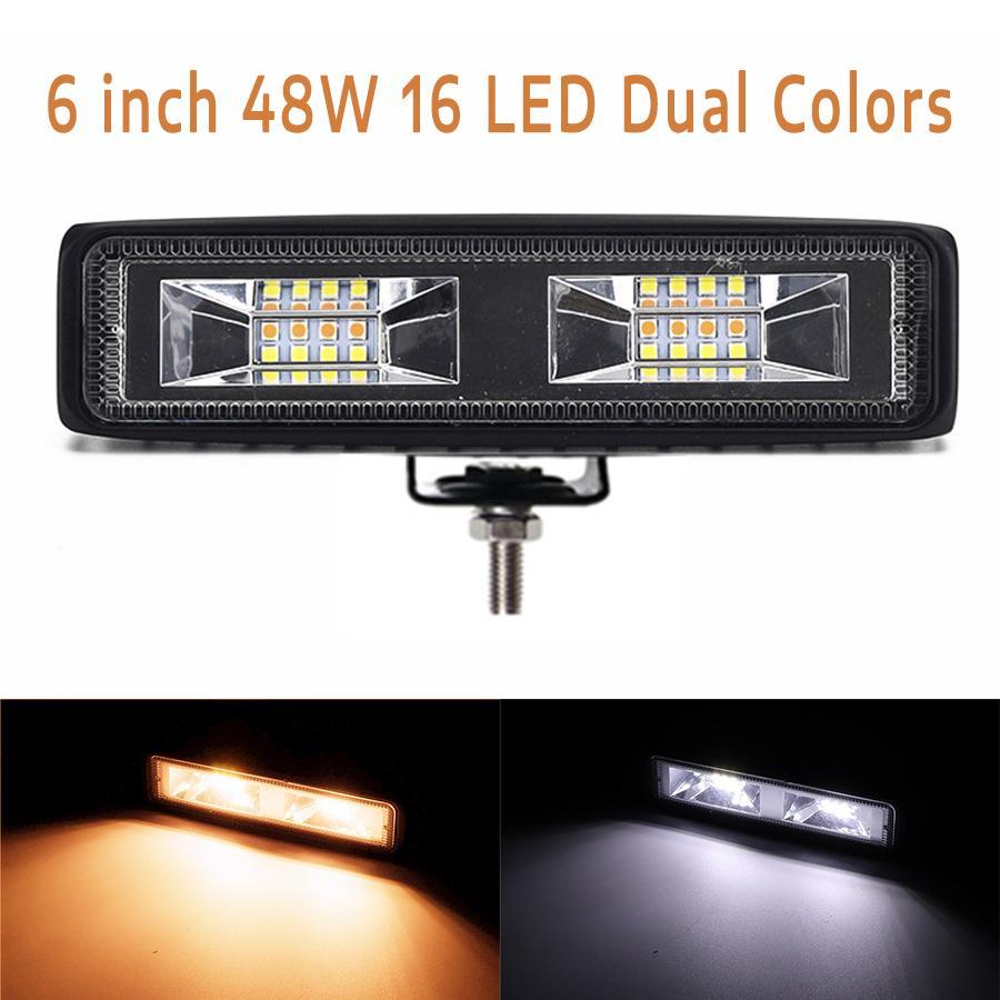 6 inçlik 48W 16 LED Çift Renkler İş Işık Sel Işın Bar Sürüş Sis Lambaları Flaşör Amber Beyaz