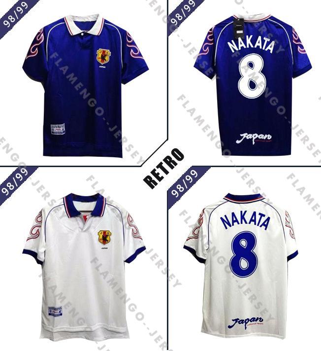 Retro version Japan 98/99 Soccer Jersey Home #8 NAKATA #11 KAZU #10 NANAMI #9 NAKAYAMA Soccer Shirt 1998 World cup Football Uniforms