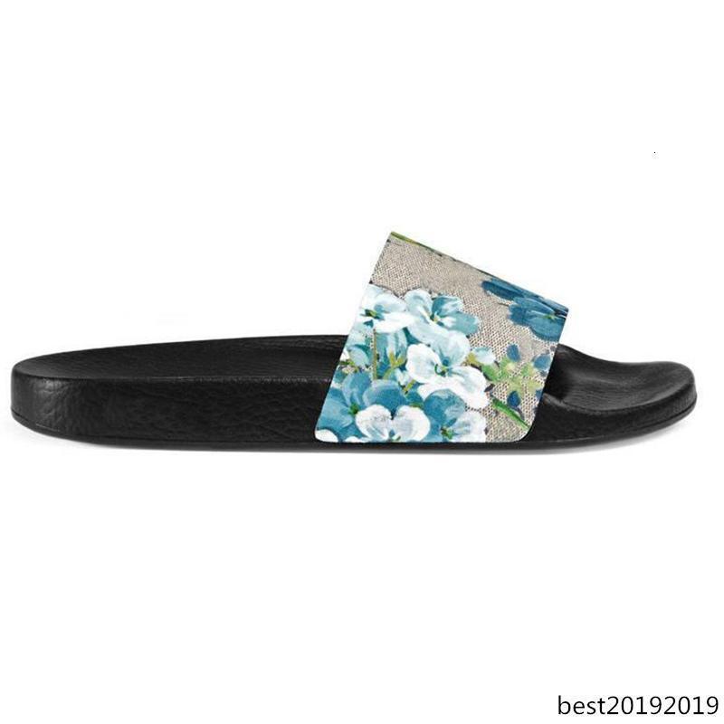Nueva chancletas de goma Slide Diseñador sandalia brocado floral Hombres Zapatilla engranaje Bottoms verano de las mujeres de moda de playa a rayas Calzado casual 36-45