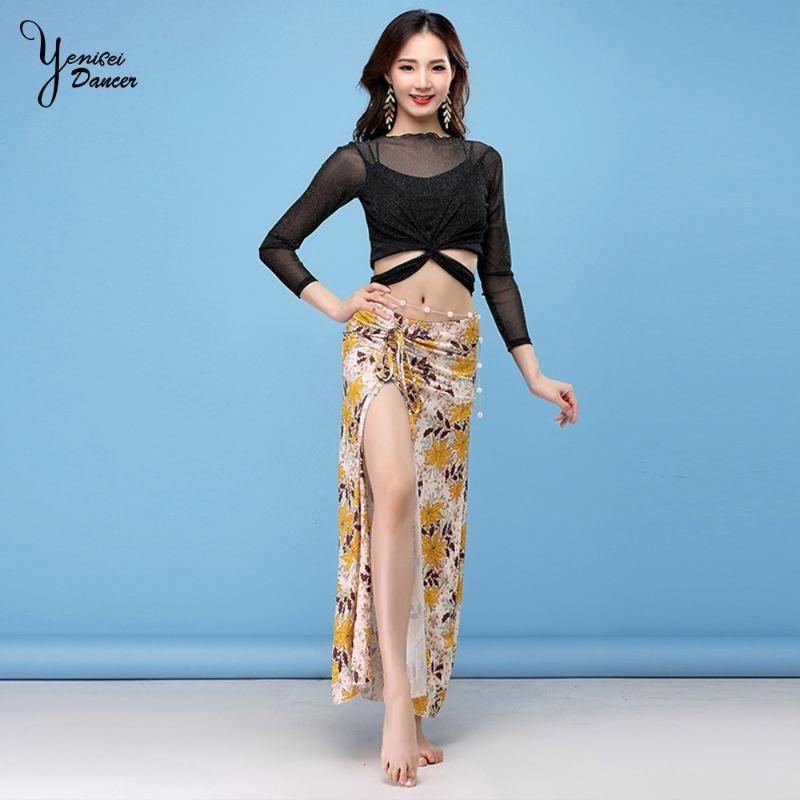 Automne et Hiver Nouveau Vêtements de danse du ventre Vêtements pratique Sexy Jupe à manches longues Robe Femmes de Split Modal