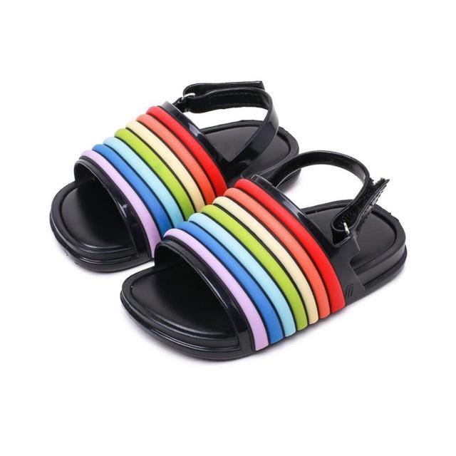 여자 샌들 여름 아이들은 다채로운 스트라이프 플라스틱 샌들 비치웨어 패션 아기 유아 소녀 소년 어린이 PVC 신발 신발