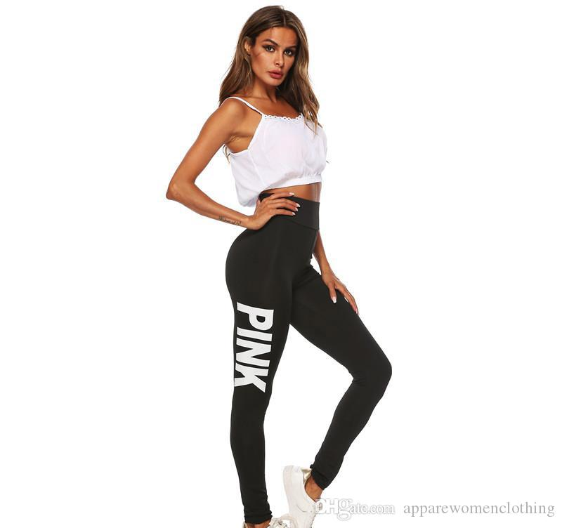 9f65d94734 Women Yoga Pants Sport Leggings Breathable Fitness Pink Letter Legging  Workout Pant for Running Gym Clothes ...