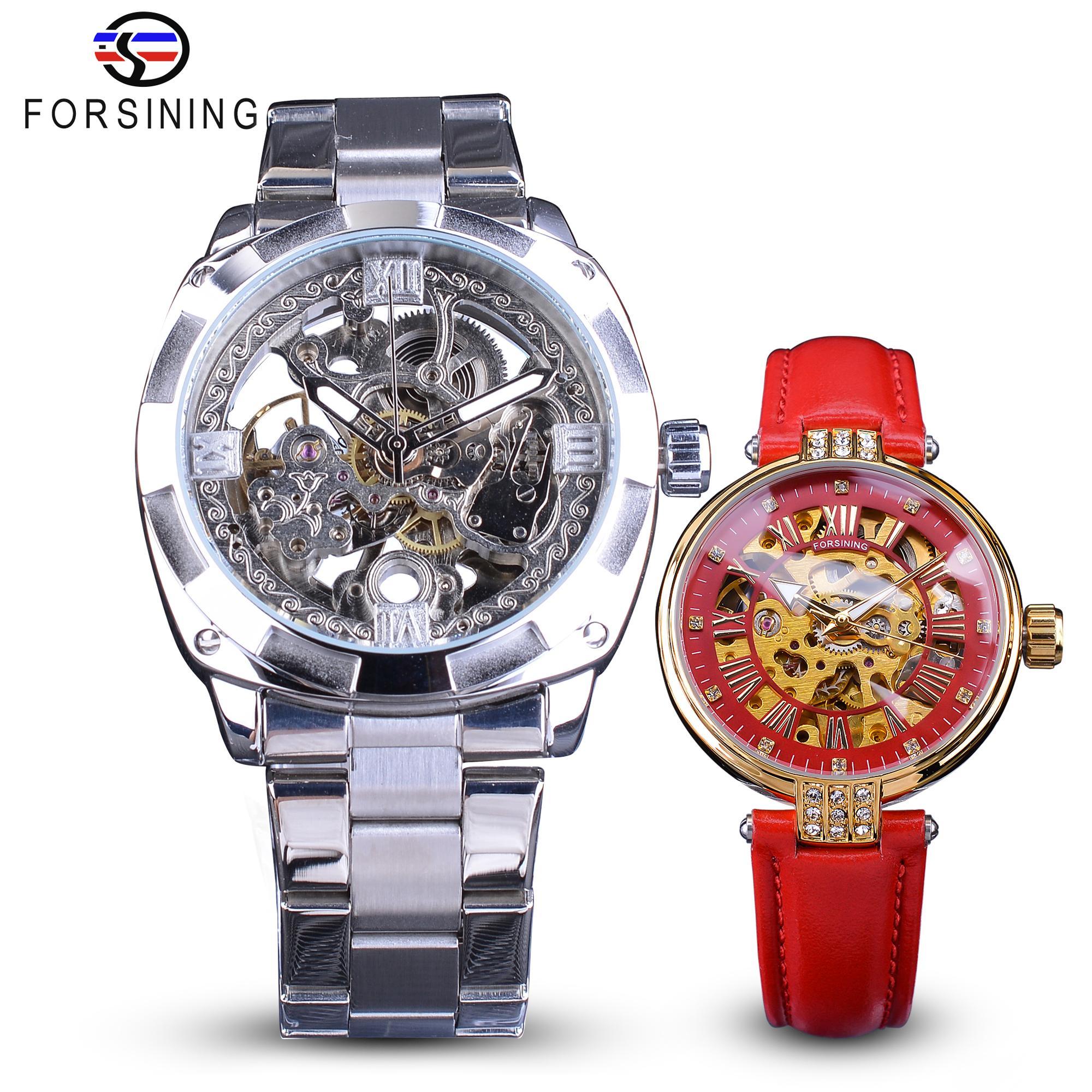Forsining Çift İzle Seti Kombinasyon Erkekler Gümüş Otomatik Saatler Çelik / Lady in Red İskelet Deri Mekanik Kol Hediyelik
