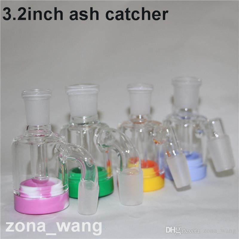 Capteur de cendres en verre vente chaude 3.2inch avec détachable 7ml récipient en silicone pour plate-forme d'huile mini dab 14mm 18mm ashcatcher bong de verre
