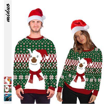 الرجال عادية البلوز أزياء عيد الميلاد الحيوان الطباعة الرقمية أنثى جولة الرقبة سترة كبيرة الحجم منزوع زوجين الخريف الملابس