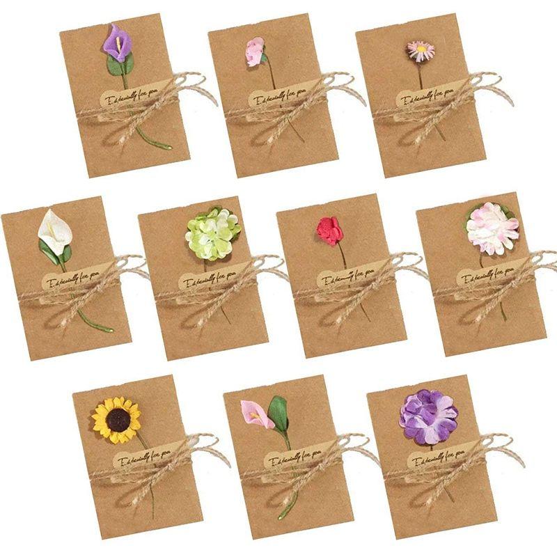 Biglietti di auguri fiori secchi, 50 pezzi Biglietti di auguri fatti a mano Biglietto da visita in bianco vintage Kraft Grazie a note per invito festa di compleanno