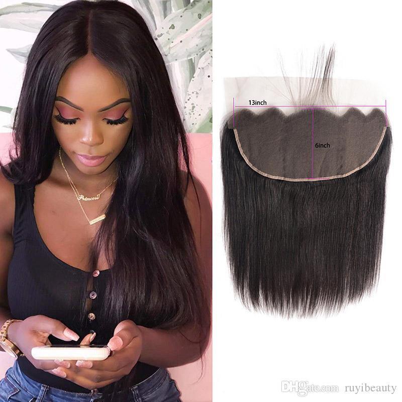 Virgem Cabelo brasileiro 13x6 Lace frontal linha reta de cabelo humano 13 por 6 Lace frontal com bebê produtos de cabelo Top Encerramento