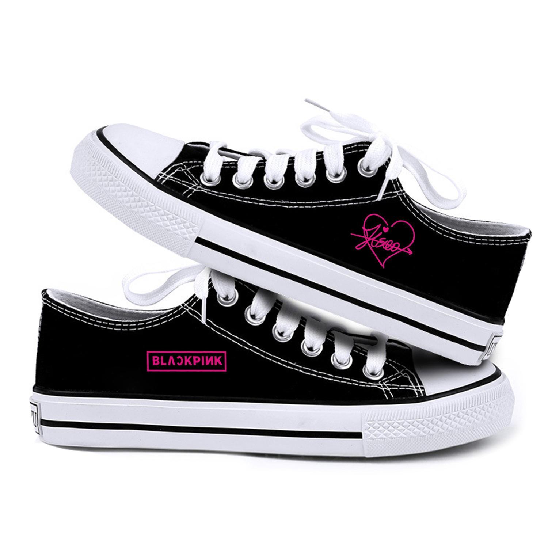 2019 KPOP BLACKPINK Tuval Ayakkabı Havalandırma Aşıklar Düz Ayakkabı İlkbahar Kadın Ayakkabı Kpop Jennie Jisoo Lisa Rose Sneaker yazdır