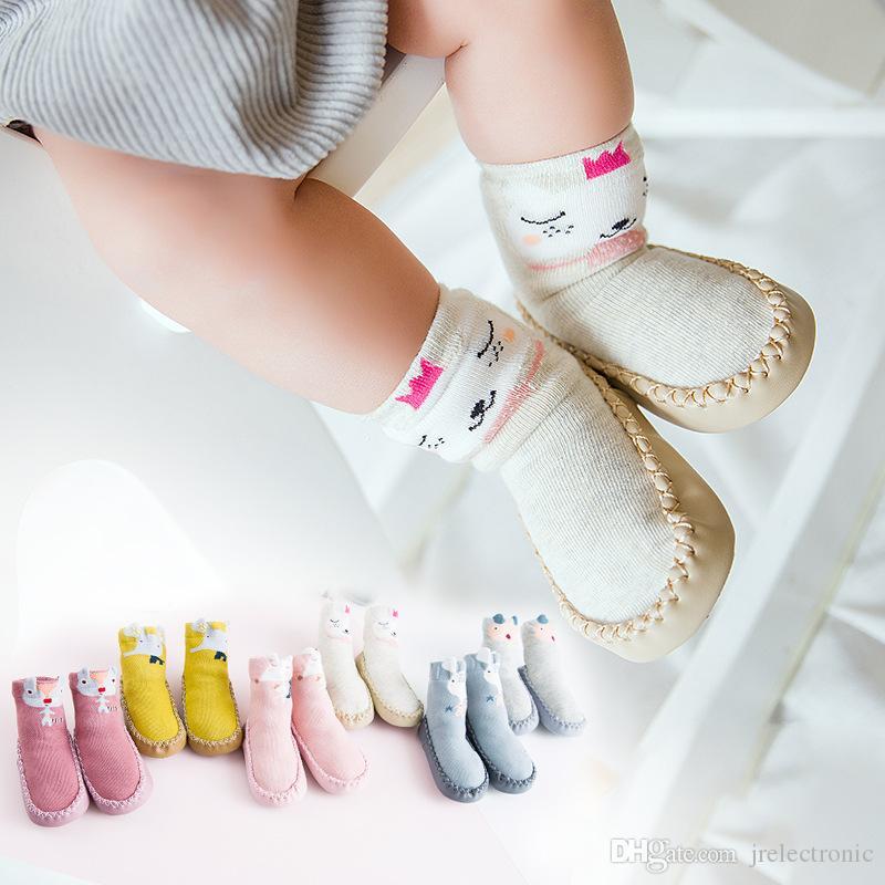 أزياء الطفل الجوارب مع باطن المطاط الرضع جورب الوليد الخريف الشتاء الأطفال الجوارب الطابق الجوارب المضادة للانزلاق لينة وحيد جورب