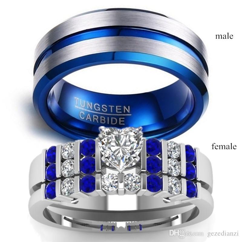 Paar Schmuck - Männer Blau-Titanstahlring und Frauen 925 silberne Herz-Schnitt-Diamant-Ring-Hochzeits-Band
