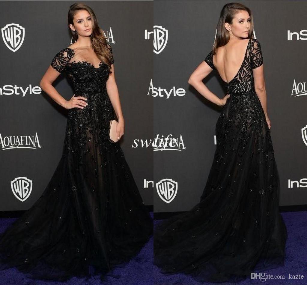 Elie Saab Evening Dresses Short Sleeve Illusion Neckline Beading Black Nina Dobrev Golden Red Carpet Celebrity Dress Prom Gowns 2019