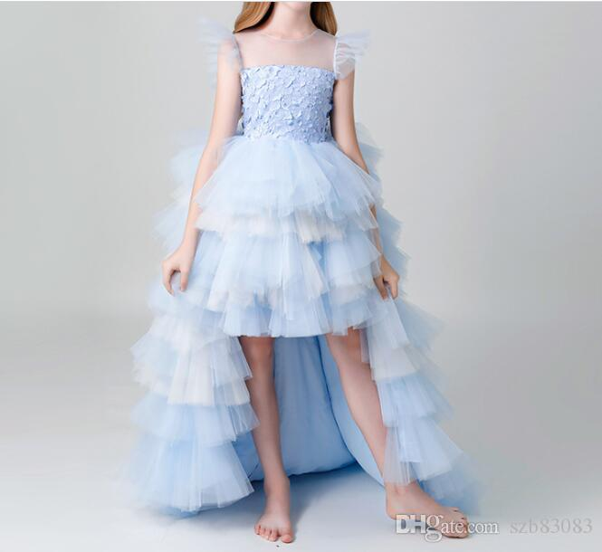 2020 New High-end Girl Wedding Party Flower Girl Dress Long Trailing Princess Gowns Blue Beaded Floral Girl Evening First Communion Gown (AL