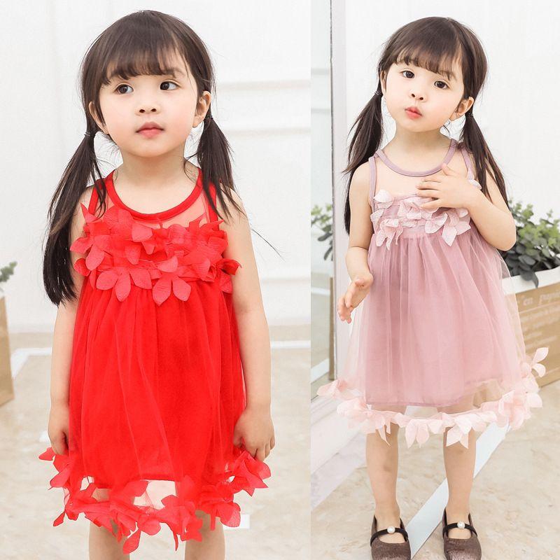 Kinder-Designerkleidung für Mädchen Kinderkleidung 2019 Sommer-neue Mädchen-süße Spitze Normallack-Kleid-Prinzessin-Kleid Petals Weste Skir