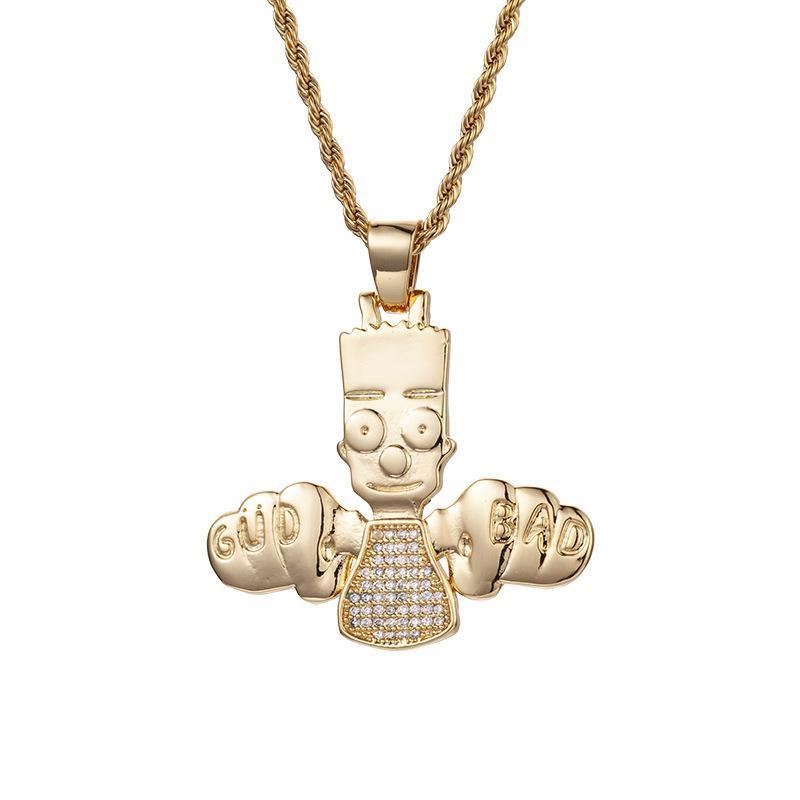DEUS BAD Tema Colar Pingente Hip Hop ouro com alta qualidade Colar Pingente Zircon bonito do menino Design Pendente