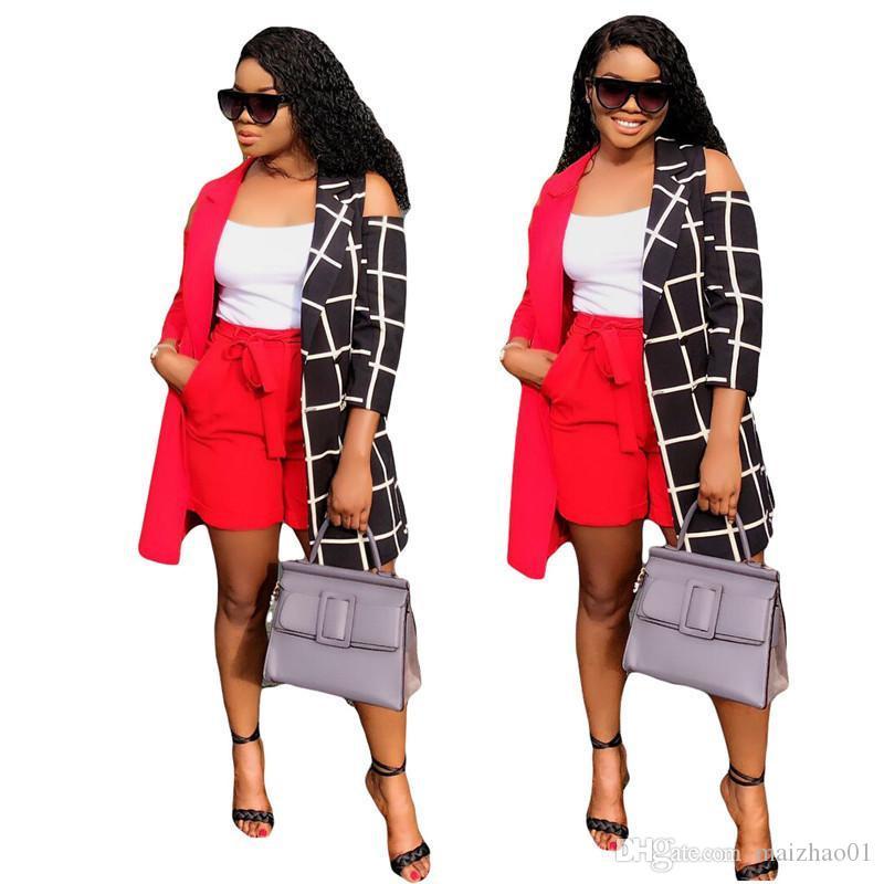 Fashion Frauen Outfits 3/4 Hülsen-Patchwork-Grid-Mantel-Jacke + Rothosen 2-teiliges Set Damen Designer Mäntel Oberteile Trainingsanzug Bekleidung 2019