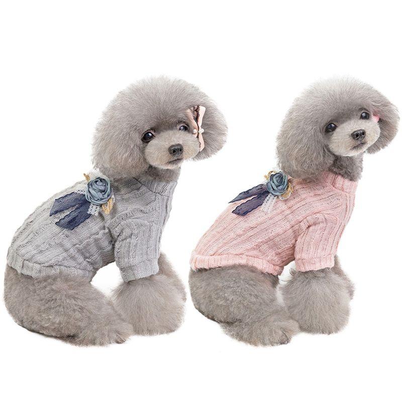 Chiens Manteau Vêtements en peluche chien fille Pulls chien mignon vêtements Bonneterie style coréen Chiens Vêtements d'hiver pour Yorkshire caniche bichon