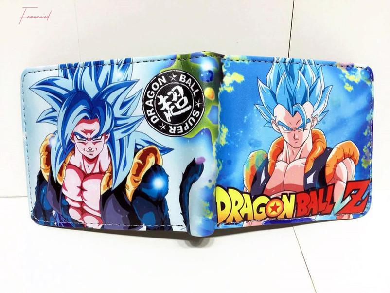 Anime Dragon Ball Super Goku Carteira Pu cartão de fotos Bifold Curto camadas Titular Homens Mulheres Coin Zip bolso dos desenhos animados Impressão Purse