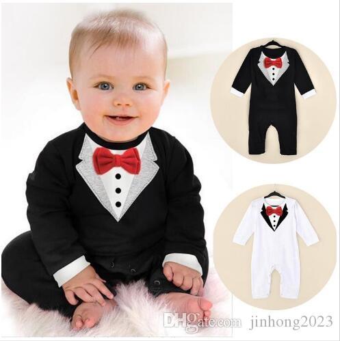 Ins venda quente nova primavera e verão novo estilo bebê menino cavalheiro escalada roupas baby's romaers crianças de uma peça de vestuário jumpsuits infantis.