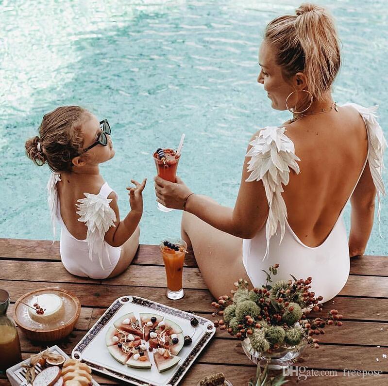 2019 Sexy Angel Wing Badeanzug Frauen Bademode Vintage BeachWear Frauen Bikini Retro Bodysuit Verband Backless Weibliche Monokini XL