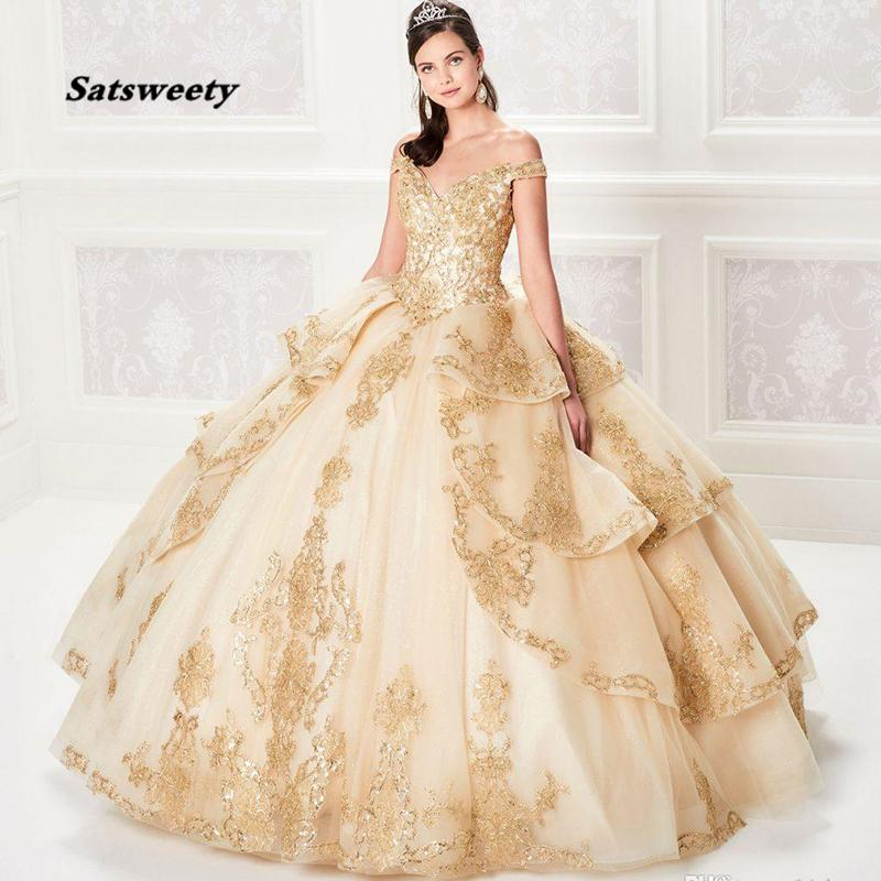 Champagne Ball Gown Quinceanera Dresses Lace Bodice Corset Back Gold Appliqued Sequins Prom Gown Custom Made Bridal Guest Dress