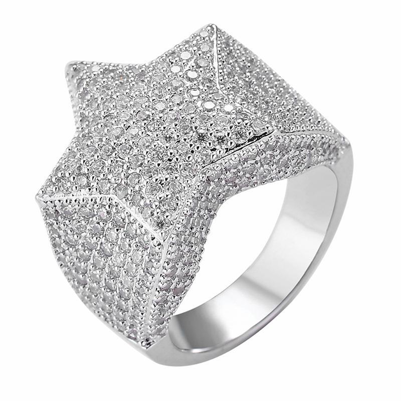 힙합 남성 반지는 5 개의 지적 마이크로 피어 지르콘 반지 남성 여성을위한 패션 보석 쥬얼리