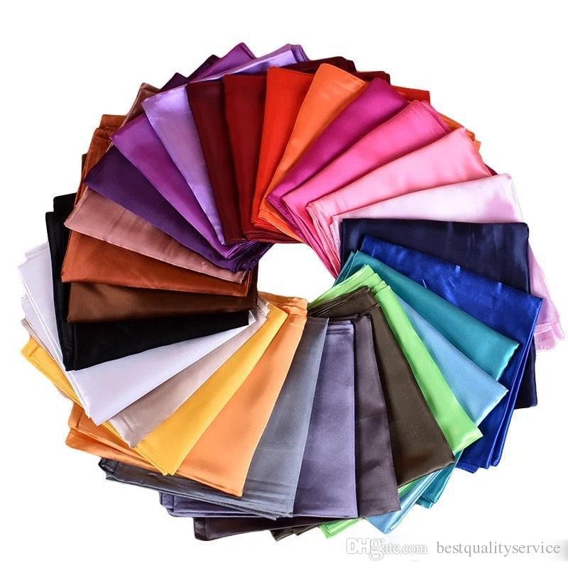 Classic Solid Colors 90cm Big Imitation Silk Schals Satin Square Wrap Frauen Pure Color Schal 34 Farben 90cmx90cm