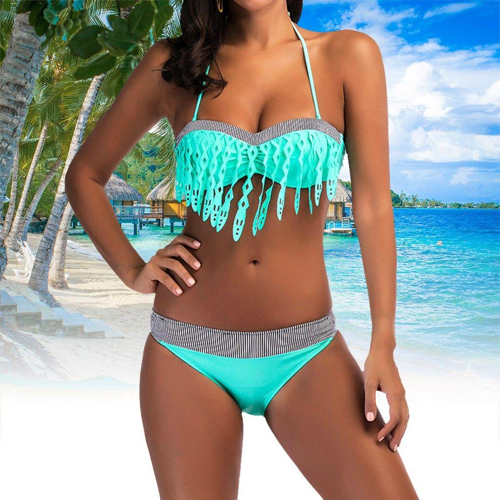 UJUNAOR Traje de ba/ño para Mujer Sexy,Bikini a Rayas Traje de ba/ño Ropa de Playa