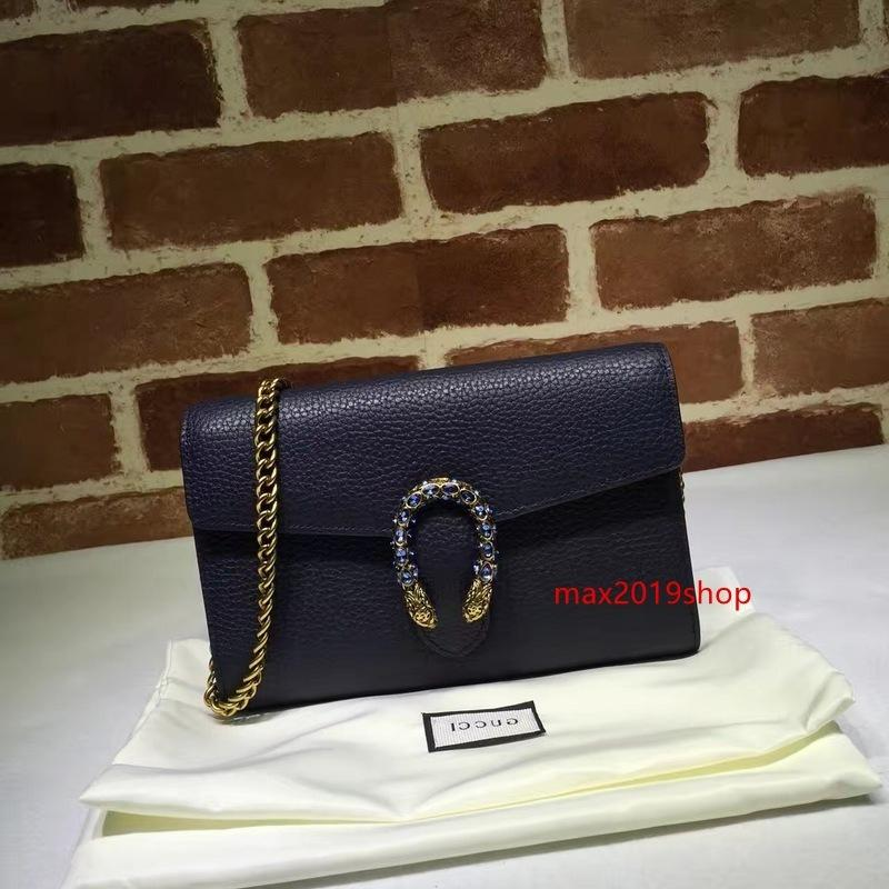 2020 Top-Qualität Markendesign Brief Schnalle Schulter-Kette Tasche Frauen-echtes Leder 401231 Umhängetasche Messenger Bag