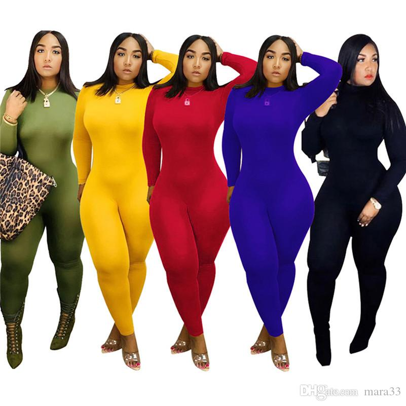 Women high collar solid color Jumpsuits Rompers gym fall winter clothes long sleeve full-length pants sportswear bodysuits high stretch 2151