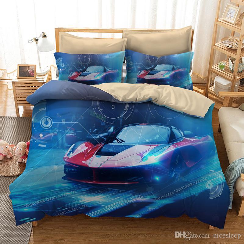 3D Bettwäsche Set Queen Size Sportwagen Design Kinder Bettbezug Set mit Kissenbezug AU König Bettbezug beste Geschenk
