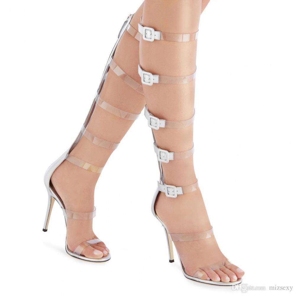 designers de sapatos 2019 novos sapatos da moda sandálias peep toes fivela prata estilete dos saltos altos tiras de gladiadores feminino melissa sandalia
