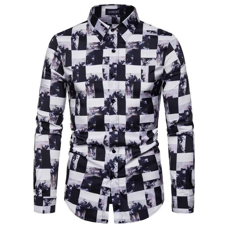 Новая весна 2020 мужчин вскользь длинных рукава клетчатой рубашки Slim Fit мужчина Социального бизнес рубашка марка мужская одежда