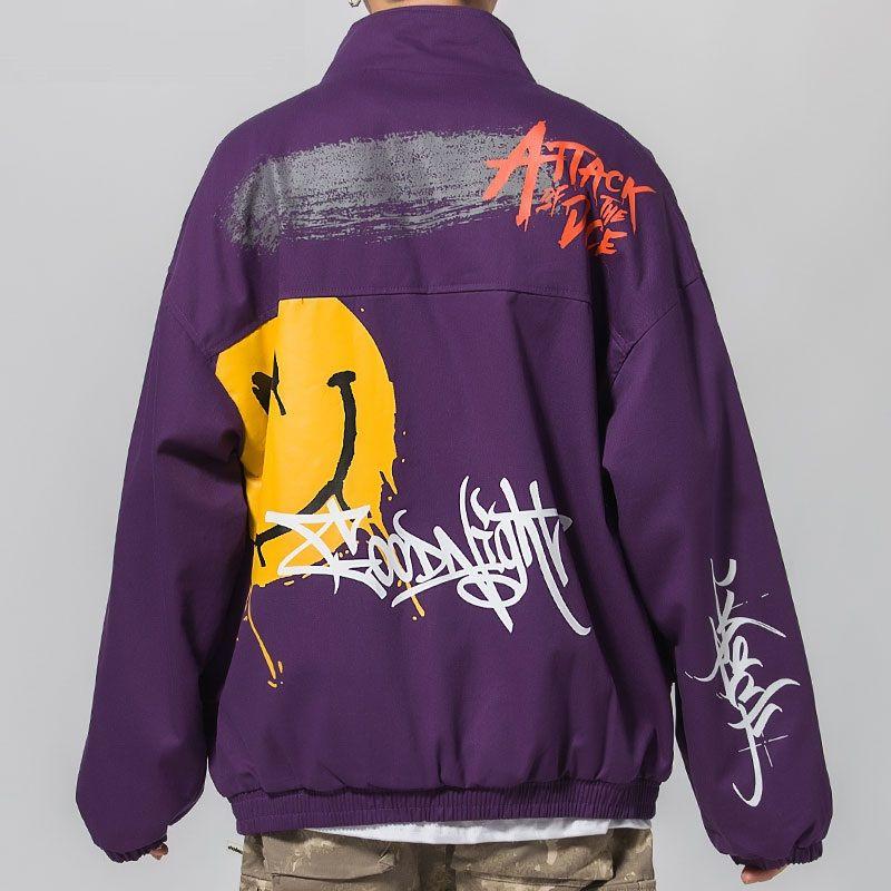 Graffiti Print Zipper Pockets Full Zip Up Windbreaker Streetwear Giacche Hip Hop Hipster Cappotti casual Bomber