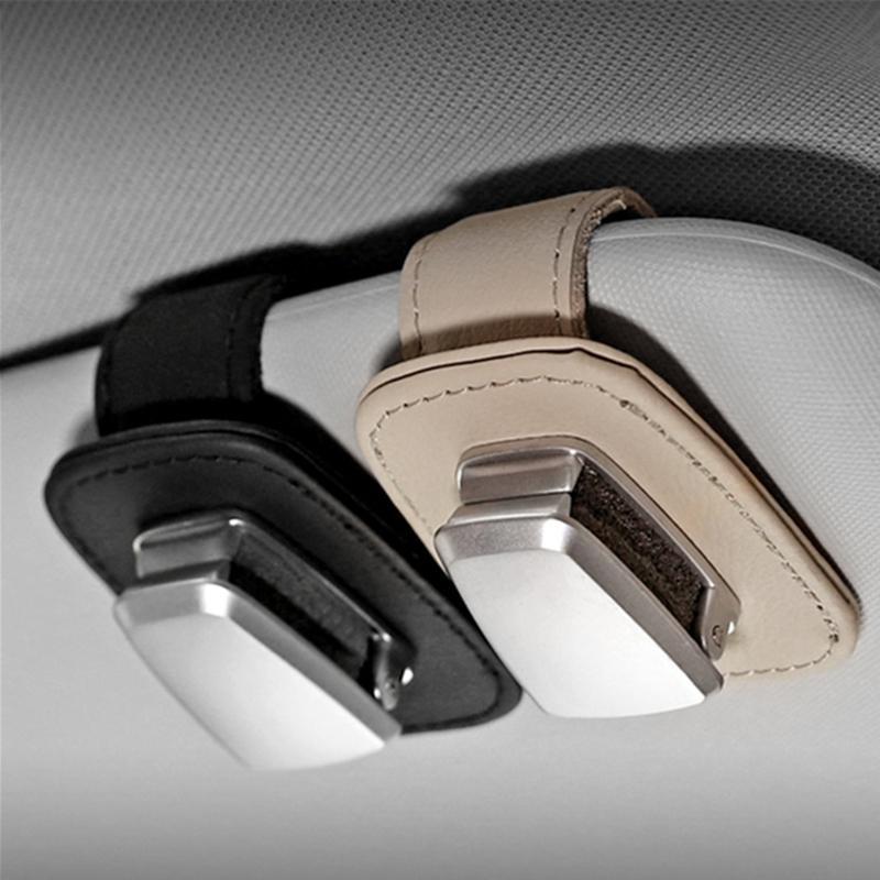 Gafas de múltiples funciones del coche clip de sol del coche de aluminio de aleación de visera de cuero clip de sujeción anteojos anteojos titular de la tarjeta de entradas