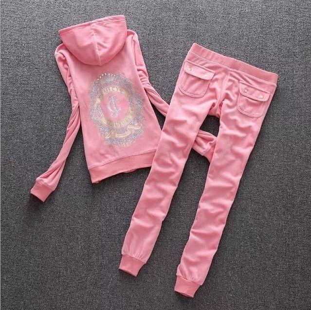 de las mujeres de terciopelo Tela chándales de terciopelo traje de Mujer Juicy Pista sudaderas y pantalones de traje de dos piezas de ropa Set