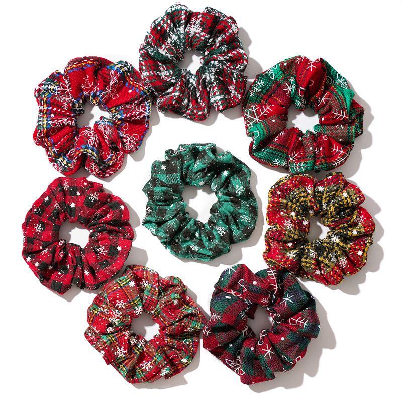 크리스마스 포니 테일 홀더 머리 scrunchy 탄성 눈송이 머리 밴드 그리드 scrunchy hairbands 여성을위한 빨간 녹색 넥타이 밧줄