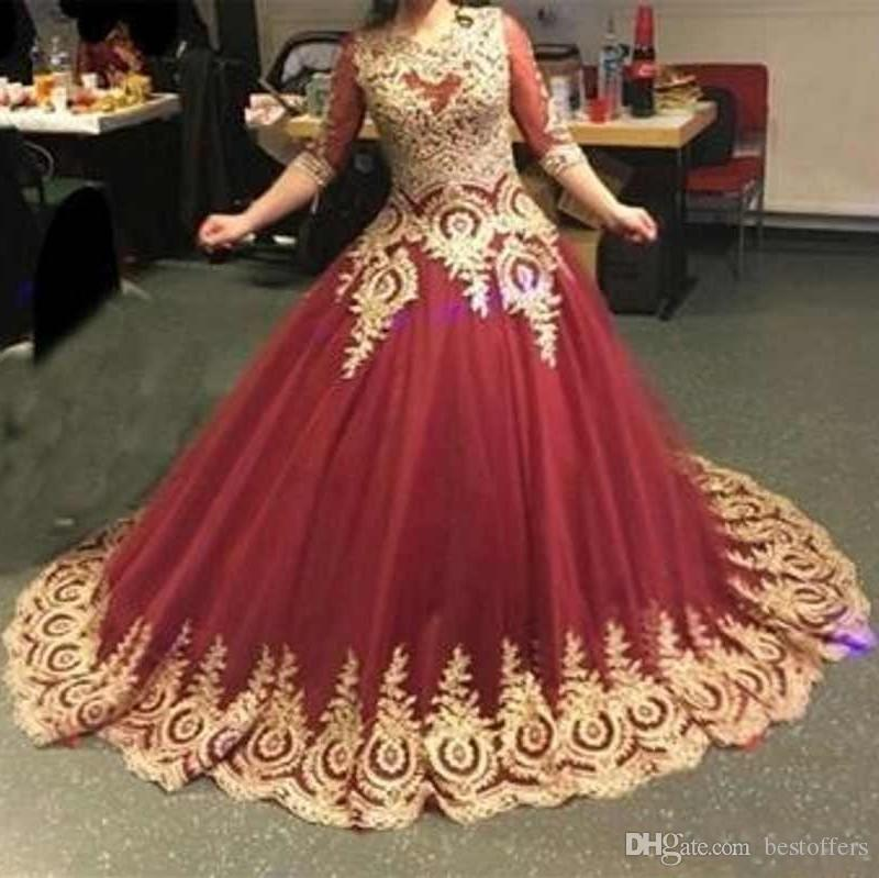 Vintage Jewel Neck Quinceanera Dresses Half Sleeves Ball Gown Gold Appliques Evening Gowns Sweep Train Cheap