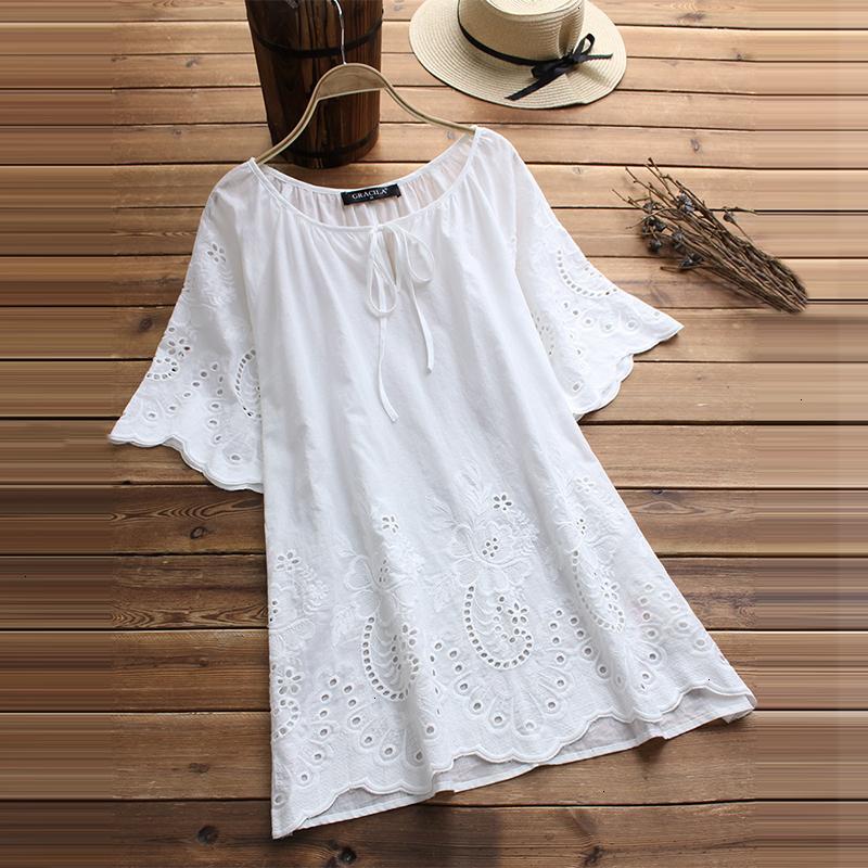 Kadın Yaz Bluz Beyaz Kadınlar Bluz Moda Kısa Kollu blusa Kadın Vintage Hollow Çiçek Nakış Günlük Gömlek Yaz Tops