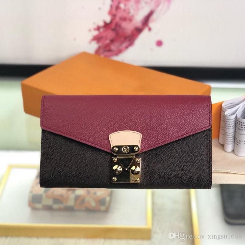Mejor calidad nueva moda de lujo diseñador billetera de cuero carteras para las mujeres famosas marcas fruncen con la caja larga de las señoras