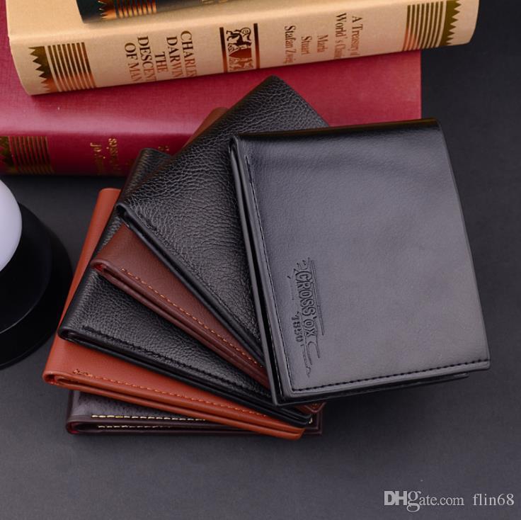 Portefeuilles de mode coréenne de nouveaux hommes personnalité court paragraphe portefeuille carte paquet Business Card Cash Receipt Titulaire Leather Purse