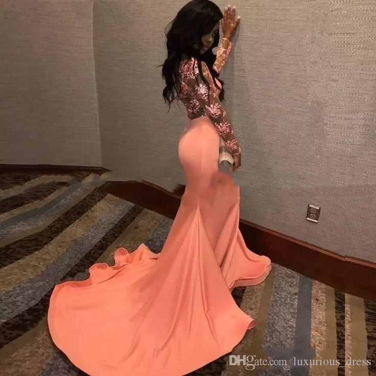 Sexy Lace Appliques Mermaid Coral Black Girls Prom Dresses Long Sleeves Plus Size African Formal Evening Gowns robe de soiree abiti eleganti