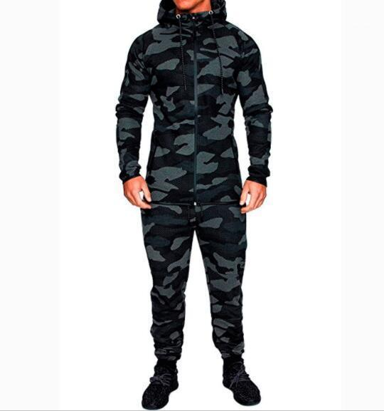 Eşofman Erkekler Hoodie Kamuflaj Tracksuits Açık Seti Spor Eşofman 2018 Sonbahar Erkek Sportwear Pantolon Ceket
