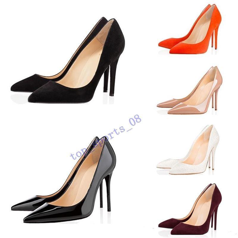 scarpe da donna calde del progettista con la scatola rossa di moda tacco alto inferiori 8cm10cm 12cm nero nudo rosso in pelle rosa la punta del piede Pompe Scarpa 35-45