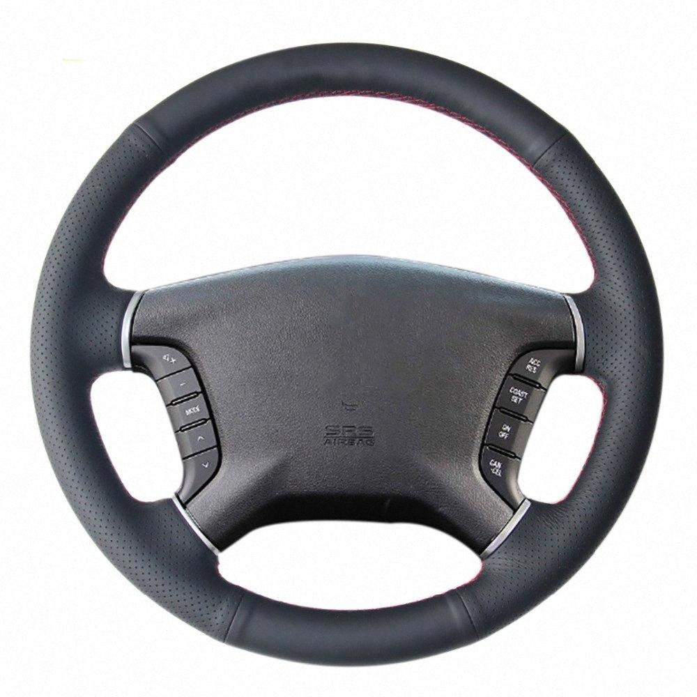 Cucito a mano nera Volante in pelle artificiale Car Wheel Cover per Mitsubishi Pajero 2007-2014 Galant 2008-2012 Umby #