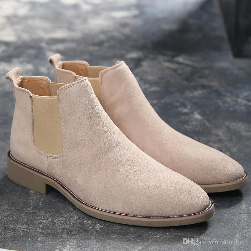 Stivali di lusso in pelle scamosciata uomini Stivaletti da uomo originale Maschio brevi pattini casuali di stile britannico Inverno Primavera Oxford Moto Boot Q-636