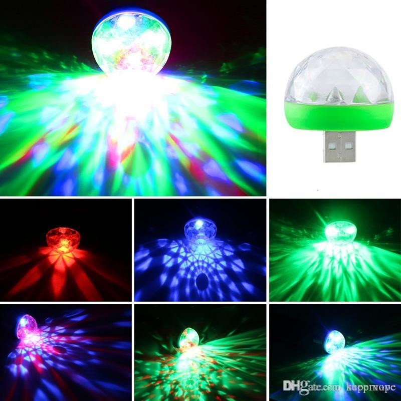 5V Mini USB Lumiere RGB LED Music Stage Light Show Club Disco DJ Light Laser Projector Sound Control Crystal Magic Ball Effect Lights