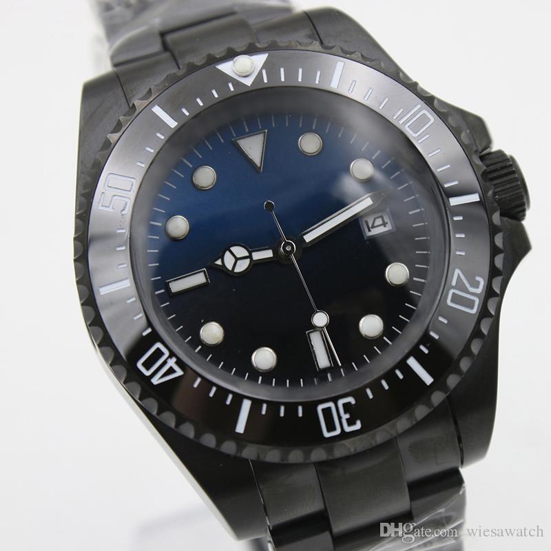Atacado ao ar livre 44mm azul e preto mostrador de aço inoxidável de aço inoxidável relógios relógios de relógios com top de cerâmica unidirecional Bezel